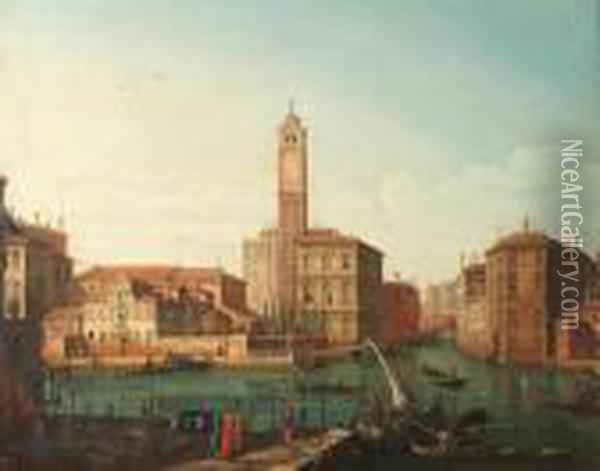 Canal Grande With A View Of The  Church Of San Jeremia, Palazzolabia And The Mouth Of The Cannareggio. Oil Painting - Bernardo Bellotto