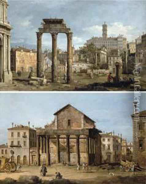 Rome: The Forum; The Temple Of Antoninus And Faustina Oil Painting - Bernardo Bellotto