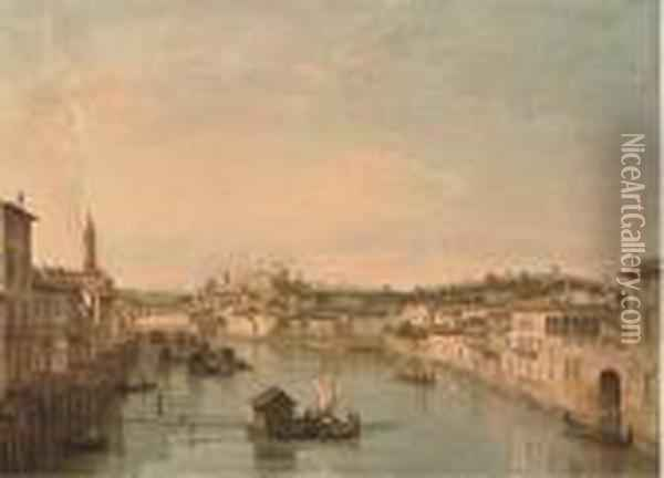 The River Adige From The Ponte Nuovo Oil Painting - Bernardo Bellotto