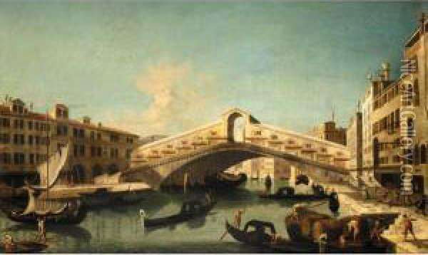 Venice, A View Of The Rialto Bridge Oil Painting - Bernardo Bellotto
