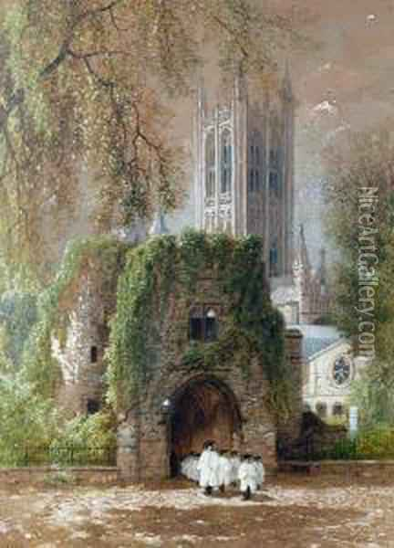 Canterbury Cathedral Oil Painting - Albert (Fitch) Bellows