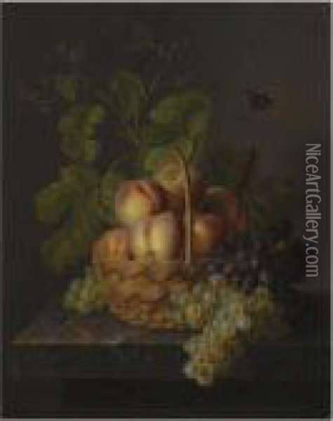 A Still Life With Peaches And Grapes In Wicker Basket On A Marble Ledge Oil Painting - Antoine Berjon