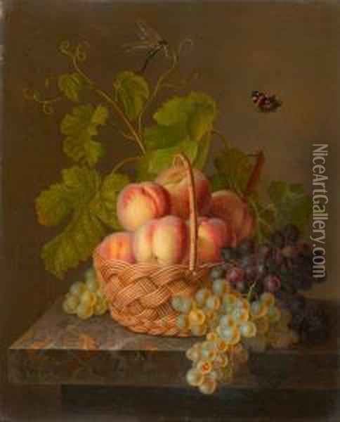 Still Life With Fruits In A Basket On A Stone Slab. Oil Painting - Antoine Berjon