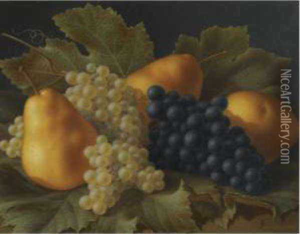 A Still Life With Pears And Grapes Oil Painting - Antoine Berjon