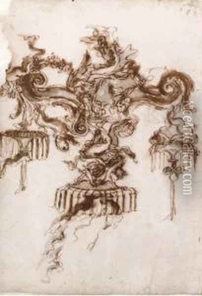 Design For A Candelabra With Angels Supporting Volutes Oil Painting - Gian Lorenzo Bernini