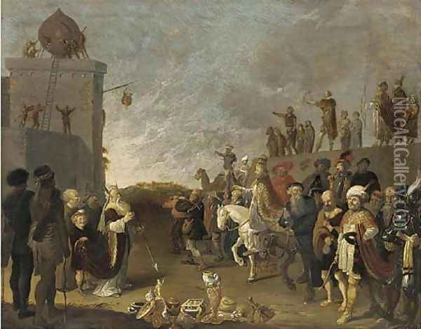 An Allegorical Scene with Moses and Aaron and a Pope Oil Painting - Dirck Gerritsz Bleker
