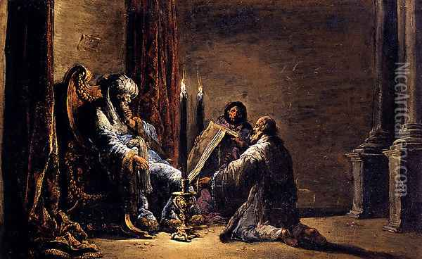The Scribe Shaphan Reading The Book Of Law To King Josiah Oil Painting - Leonaert Bramer