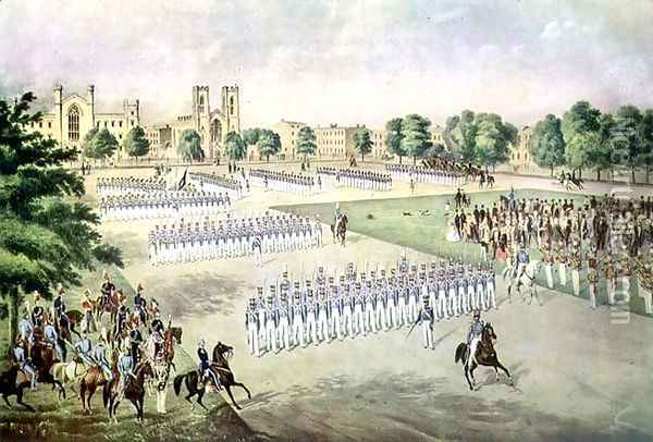 Review of the 7th Regiment, Washington Square, New York, 1851 Oil Painting - Otto Botticher
