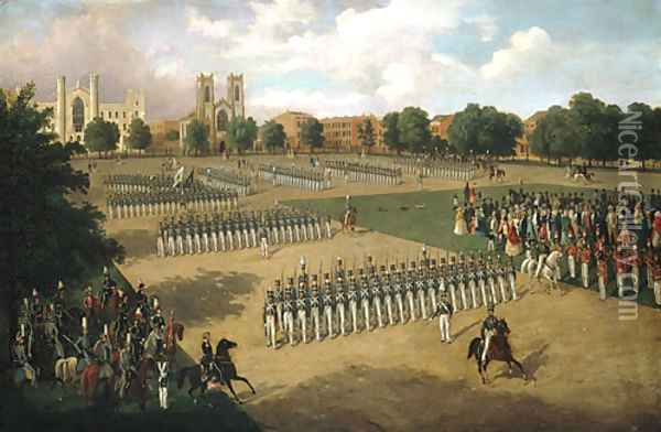 Seventh Regiment on Review, Washington Square, New York Oil Painting - Otto Botticher