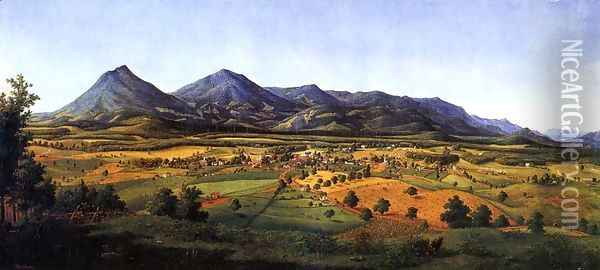 The Peaks of Otter and the Town of Liberty Oil Painting - Edward Beyer