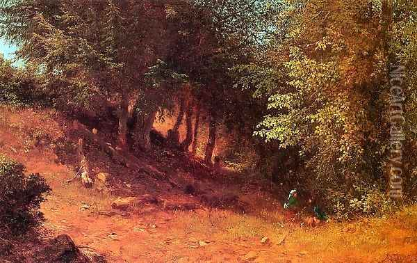 Picnic in a Summer Landscape Oil Painting - Albert (Fitch) Bellows