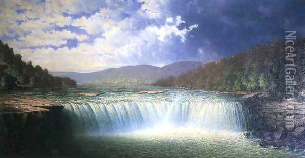 Falls of the Cumberland River, Whitley County, Kentucky Oil Painting - Carl Brenner