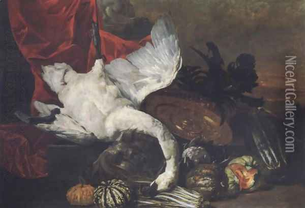 Elaborate still life with fruits, vegetables, a salver and a swan before a draped pedestal, a landscape beyond Oil Painting - Peeter Boel