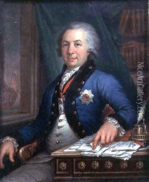 Portrait of the Russian poet Gavril Derzhavin 1795 Oil Painting - Vladimir Lukich Borovikovsky