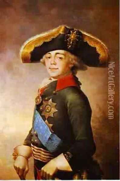 Portrait Of Paul I Emperor Of Russia 1796 Oil Painting - Vladimir Lukich Borovikovsky