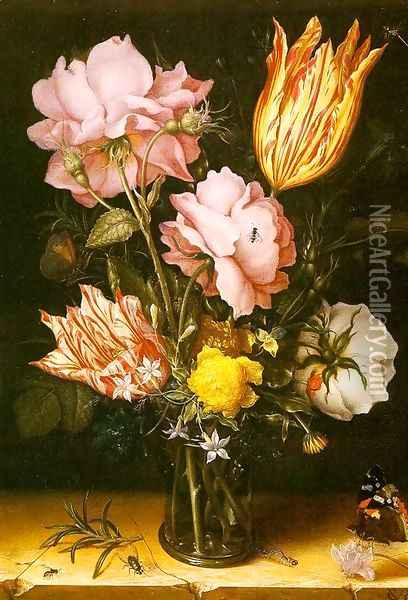 Bouquet of Flowers on a Stone Ledge 1620 Oil Painting - Christoffel van den Berghe