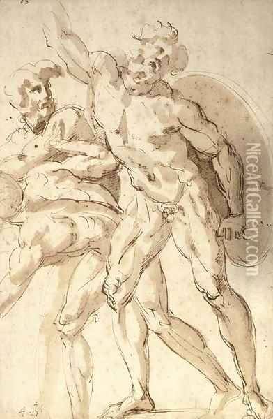 A nude warrior with a shield reaching up to the left, two crouching nudes to the left Oil Painting - Baccio Bandinelli
