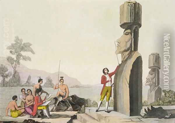 Island Monument, from Captain Cook's visit to Easter Island Oil Painting - C. Bottigella