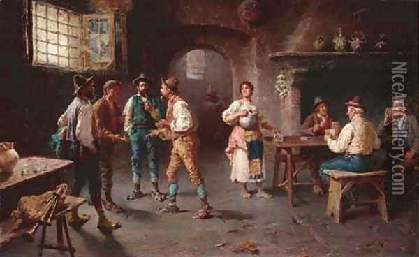 A Lively Discussion Oil Painting - Francesco Bergamini