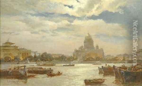 View of Saint Petersburg in twilight 1911 Oil Painting - Aleksandr Karlovich Beggrov