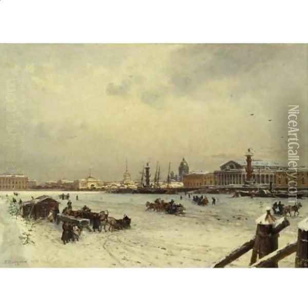 View of St. Petersburg in winter, with the cuppola of St. Isaac's Cathedral in the distance 1878 Oil Painting - Aleksandr Karlovich Beggrov