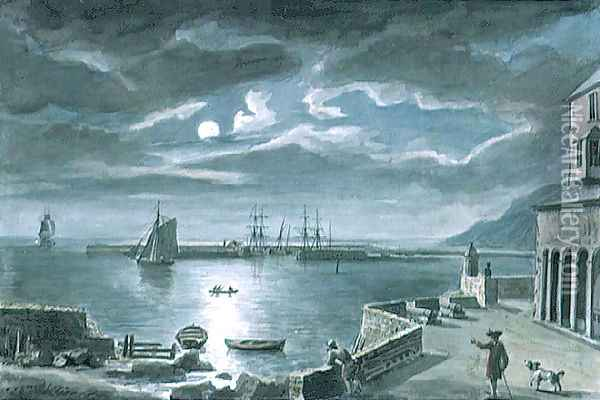 The Harbour and the Cobb, Lyme Regis, Dorset, by Moonlight Oil Painting - Copplestone Warre Bamfylde