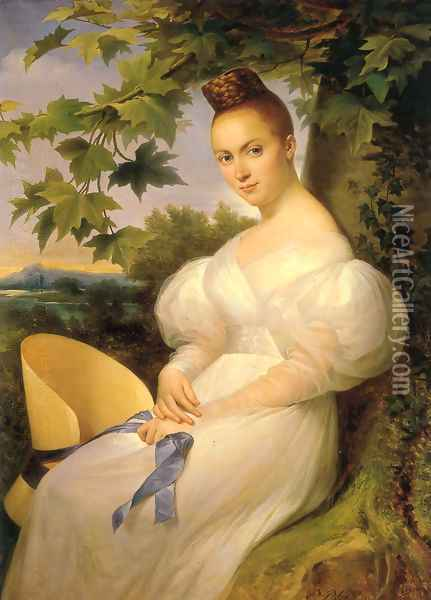 Portrait of a lady, seated in a landscape, in a white dress holding a straw hat 1830 Oil Painting - Merry Joseph Blondel