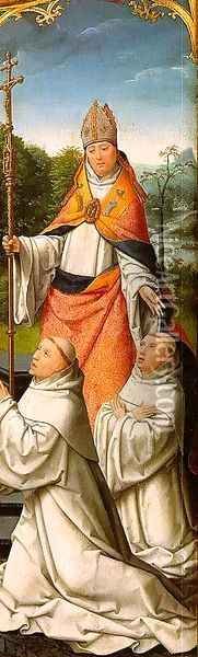 The Retable of Le Cellier (triptych inner-right panel featuring St. Malachy O'Morgair & Cistercian Monks) 1508-09 Oil Painting - Jean Bellegambe the Elder
