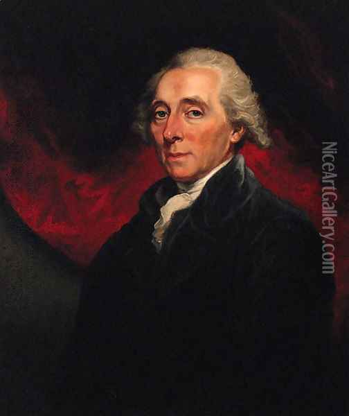 Portrait of Richard Paul Jodrell (1761-1831), half-length, in a black coat, against a red curtain Oil Painting - Mather Brown