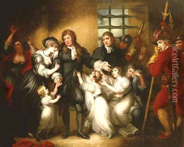 Lord William Russell with his family before his execution Oil Painting - Mather Brown