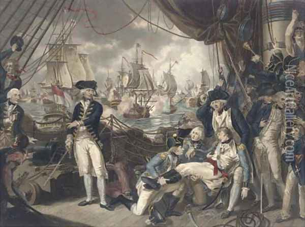The celebrated victory obtained by the British fleet under the command of Earl Howe over the French fleet on the Glorious First of June, 1794, by D. O Oil Painting - Mather Brown