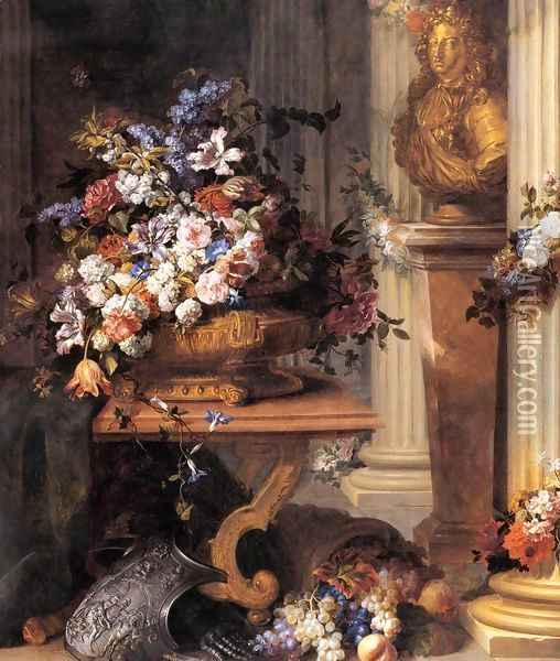 Flowers in a Gold Vase, Bust of Louis XIV, Horn of Plenty and Armour Oil Painting - Jean Baptiste Belin de Fontenay
