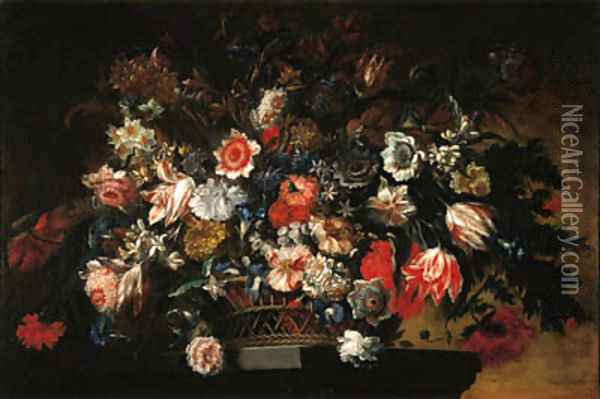 Parrot tulips, carnations, daffodils and other flowers in a basket on a pedestal Oil Painting - Jean Baptiste Belin de Fontenay