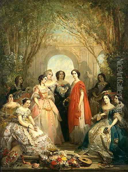 The Women of the Comedie Francaise in their Costumes, 1855 Oil Painting - Faustin Besson