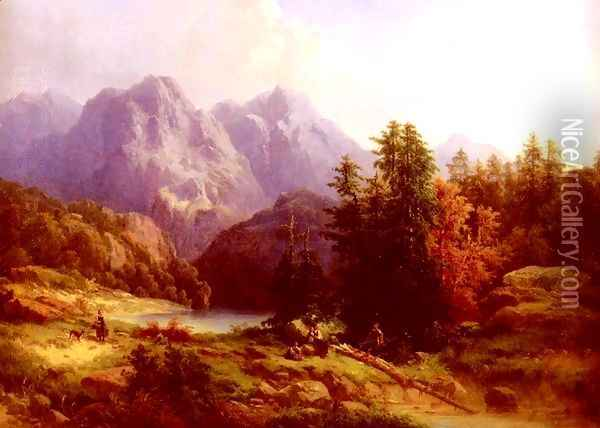 Woodsman And Family In An Alpine Landscape Oil Painting - H. Baumgartner