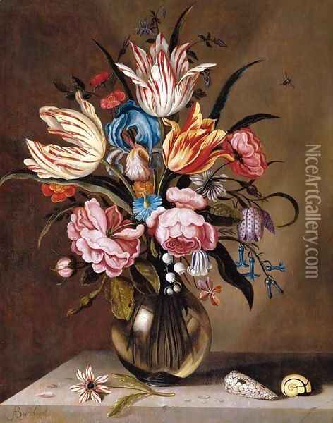 Flowers in a Glass Vase Oil Painting - Abraham Bosschaert