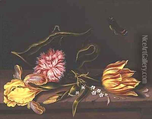 Still Life of Flowers on a Table Oil Painting - Abraham Bosschaert