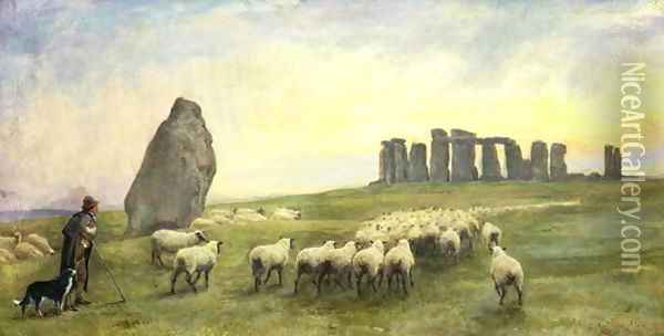 Returning Home, Stonehenge, Wiltshire, 1891 Oil Painting - Edgar Barclay
