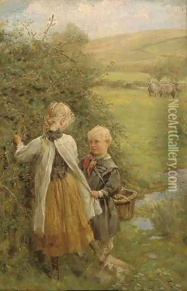 The blackberry gatherers Oil Painting - Edgar Barclay