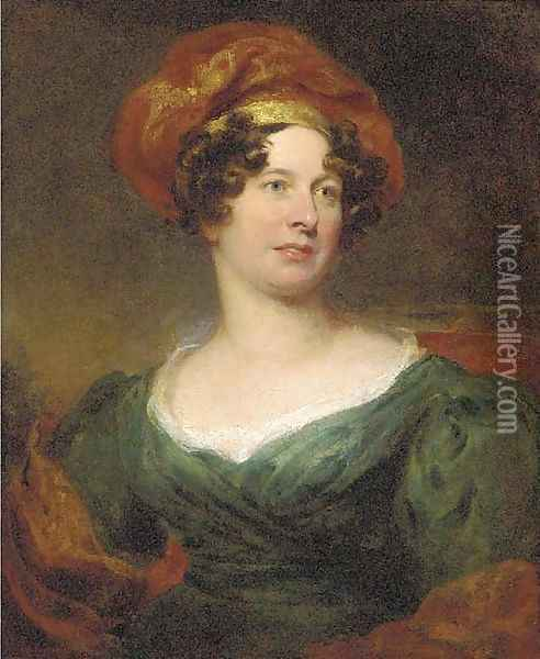 Portrait of a lady, half-length, in a green dress with a red and gold headdress Oil Painting - Sir William Beechey