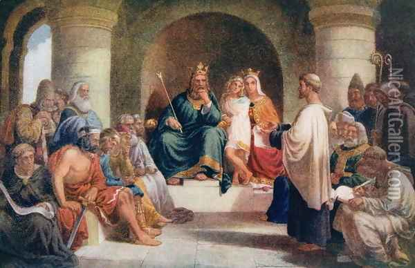 King Alfred (849-99) submitting his laws to the Witan, illustration from 'Lives of Great Men Told by Great Men', c.1920s Oil Painting - John Bridges