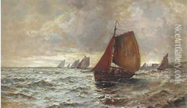 The fishing fleet heading out to sea Oil Painting - Gustave de Breanski
