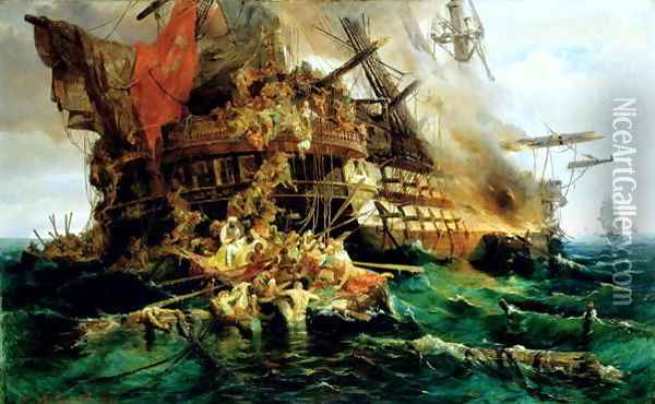 A Turkish Warship on Fire 1868 Oil Painting - Konstantinos (or Constantin) Bolanachi
