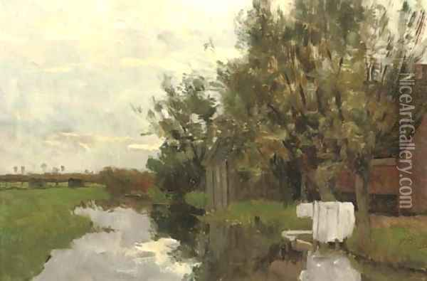 Farmhouse along a quiet stream Oil Painting - Victor Bauffe