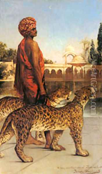 Benjamin The Palace Guard With Two Leopards Oil Painting - Constant Benjamin Jean Joseph
