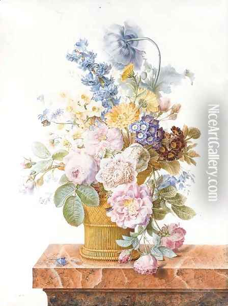 A bouquet of roses, chrysanthemums, auricula, hyacinth, a poppy, harebells and other flowers in a basket on a marble ledge with a butterfly Oil Painting - Pancrace Bessa