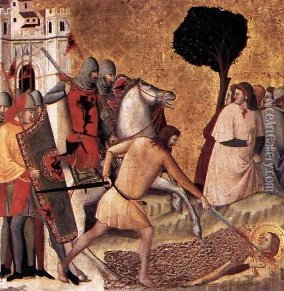 Scenes from the Life of St Colomba Beheading of St Colomba 1340s Oil Painting - Giovanni Baronzio