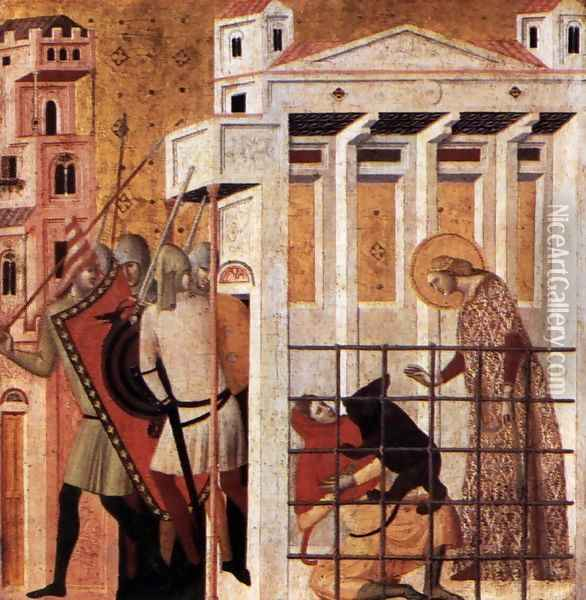 Scenes from the Life of St Colomba St Colomba Saved by a Bear 1340s Oil Painting - Giovanni Baronzio