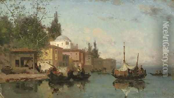 On the shores of the Bosphorus Oil Painting - Fabius Germain Brest