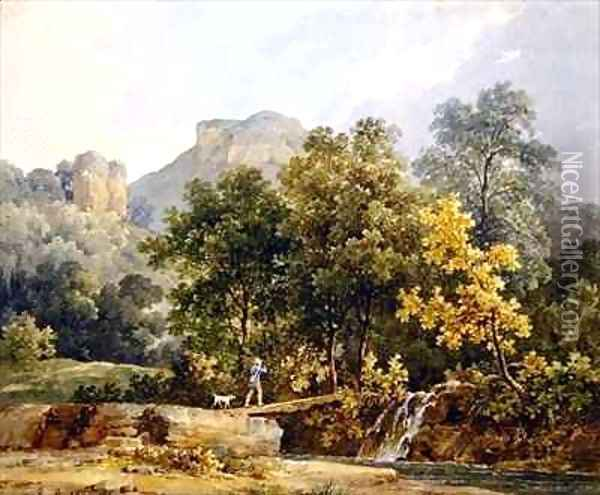 Hunter crossing a bridge over a river Oil Painting - Jacques-Raymond Brascassat